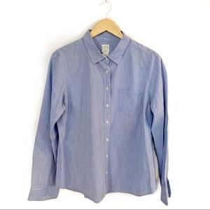 J Crew The Perfect Shirt Blue Button Up